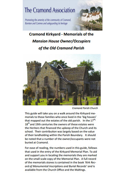 Cramond Kirkyard - the Memorials of Mansion House Owners
